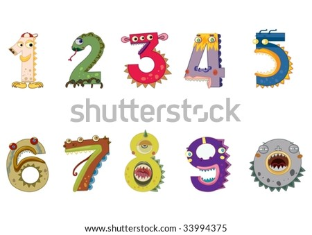 illustration of a numbers on white