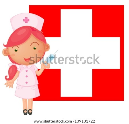 Illustration of a nurse with an injection in front of the Switzerland flag on a white background