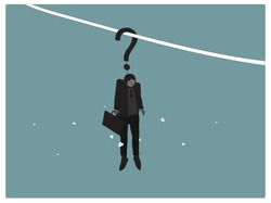 Illustration of a office worker or businessman hanging on the question mark,white butterflies flying around him