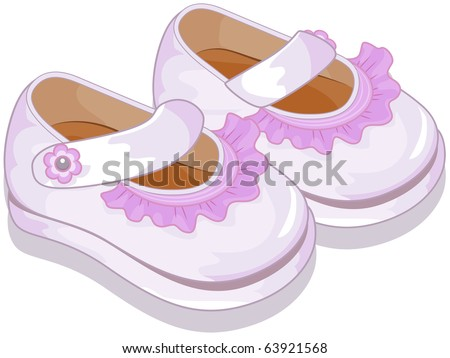 Illustration of a Pair of Baby Shoes for Girls