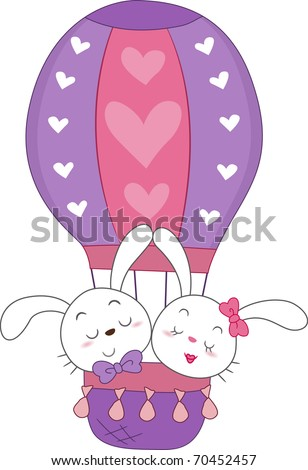 Illustration of a Pair of Bunnies in a Hot Air Balloon