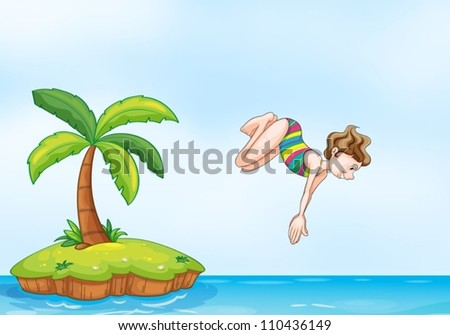 illustration of a palm tree and girl diving on a island - stock vector