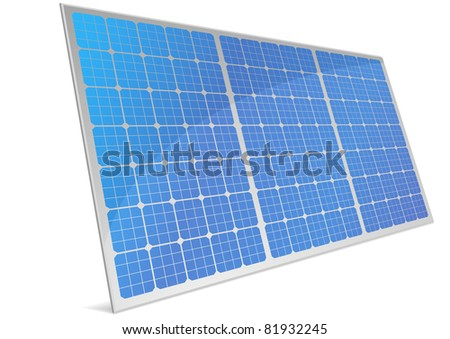 illustration of a panel with solar cells and reflection, eps8 vector