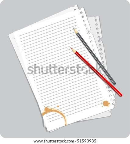 Illustration of a paper blank with coffee blots and pencils