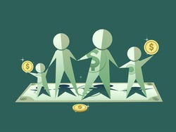 Illustration of a Paper Family from a Dollar Bill. Finance Concept.