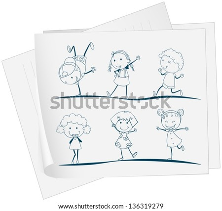 illustration of a paper with a drawing of kids dancing on a white background - Drawing Paper For Kids