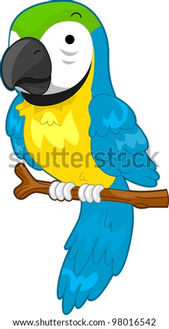 Illustration of a Parrot on a Perch