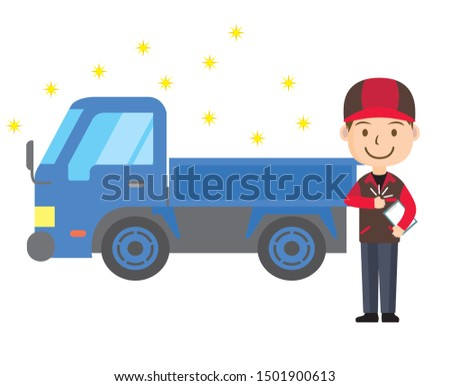 Illustration of a passenger car and man. A clean truck that has been maintained and cleaned.