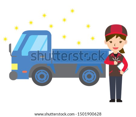 Illustration of a passenger car and woman. A clean truck that has been maintained and cleaned.