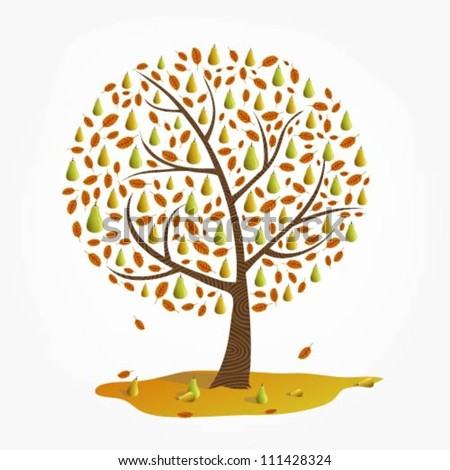Illustration Of A Pear Tree In Fall Tree Illustration