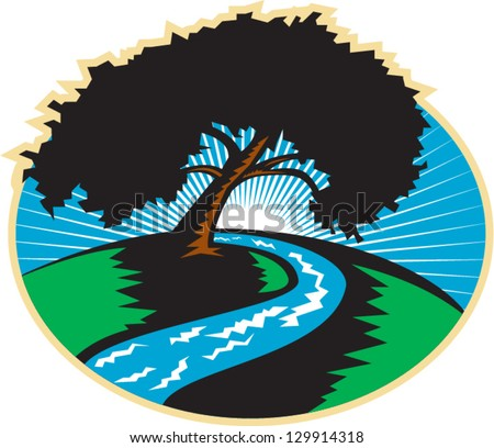 Illustration of a pecan tree silhouette with winding river stream and sunburst in background done in retro style.