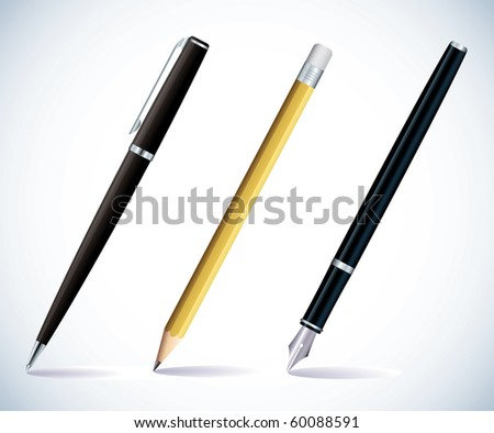 Illustration of a pencil, a ball pen and a fountain pen
