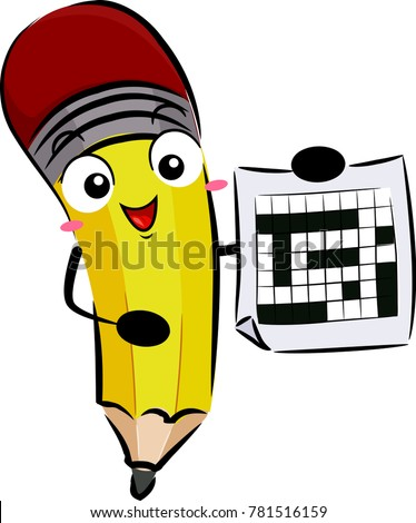 Illustration of a Pencil Mascot Showing a Blank Crossword Puzzle Sheet