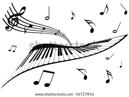 Illustration of a piano, a stave and music notes