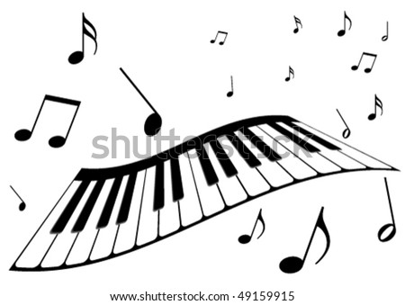 Illustration of a piano and music notes - stock vector