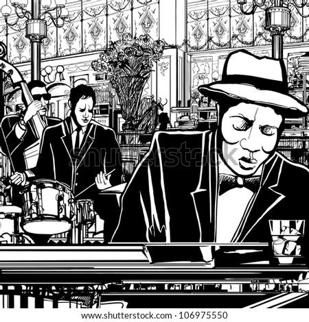 illustration of a piano jazz