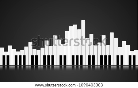 illustration of a piano key equalizer concept, eps10 vector