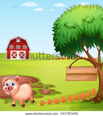 Illustration of a pig near the tree with a hanging empty signboard