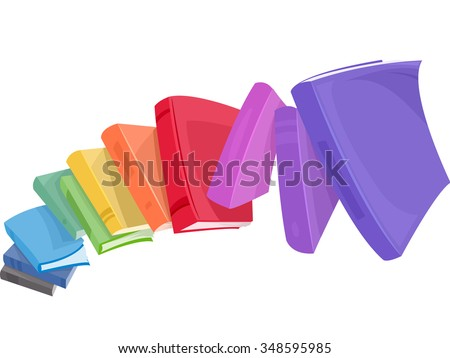 stock-vector-illustration-of-a-pile-of-colorful-books-tumbling-down
