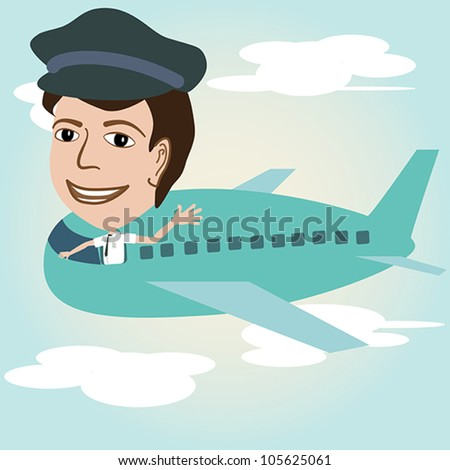 illustration of a pilot on an airplane above sky.