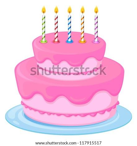 illustration of a pink birthday