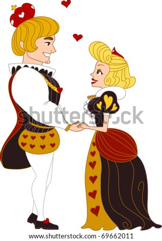 Illustration of a Pinup Couple Dressed as a King and Queen Holding Hands
