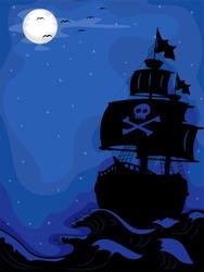 Illustration of a Pirate Ship sailing at Night
