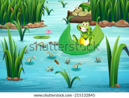 illustration of a playful frog