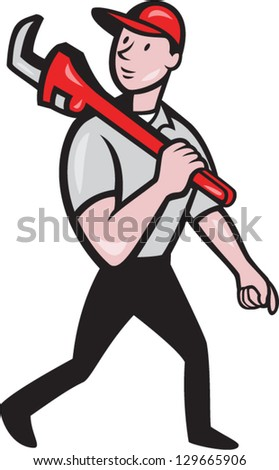 Illustration of a plumber with monkey wrench done in cartoon style on isolated background - stock vector