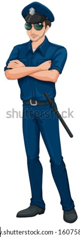 Illustration of a policeman on a white background