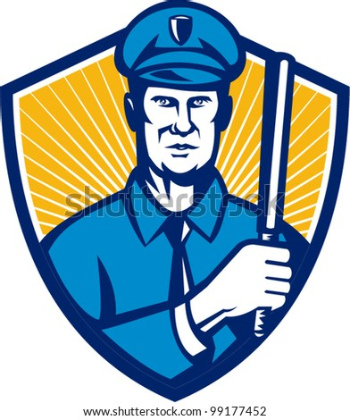 Illustration of a policeman police officer holding a baton facing front set inside shield done in retro style.