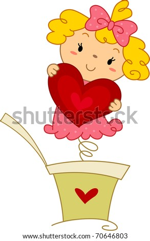 Illustration of a Pop-up Doll Holding a Heart