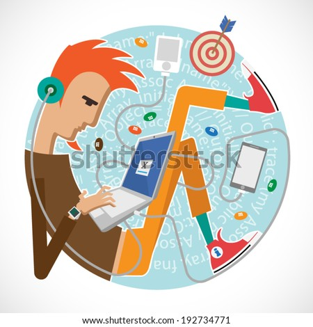Illustration of a programmer, a young art director, creatives. Infographics for presentations, reports in the style of a flat design. Bring Yout Own Device