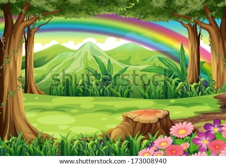 illustration of a rainbow and a