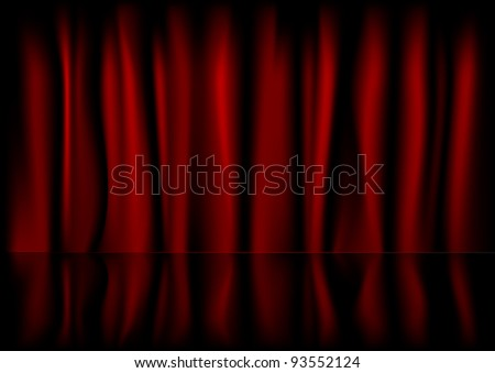illustration of a red curtain background with reflection