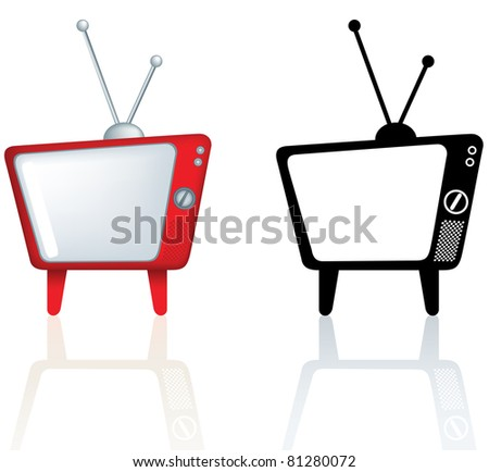 illustration of a red design for a television with rounded edges