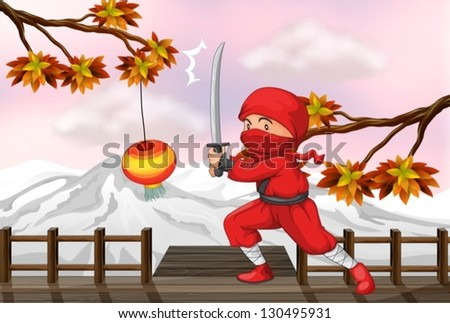 illustration of a red ninja