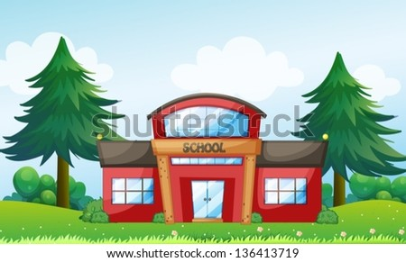 Illustration of a red school building