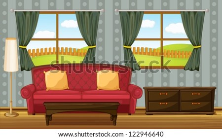 illustration of a red sofa and
