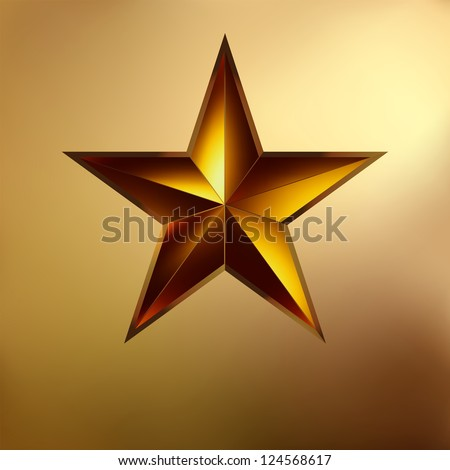 illustration of a Red star on gold background. EPS 8 vector file included