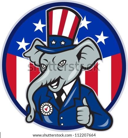 Illustration of a republican elephant mascot of the republican grand old party gop wearing hat and suit thumbs up set inside American stars and stripes flag circle done in cartoon style.