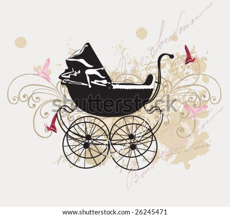 Illustration of a retro baby carriage