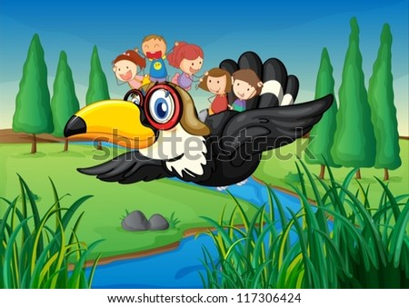 Stock Photo illustration of a river, a bird and kids in a beautiful nature