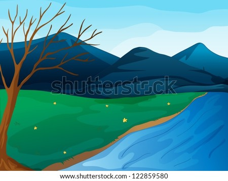 Illustration of a river and mountains