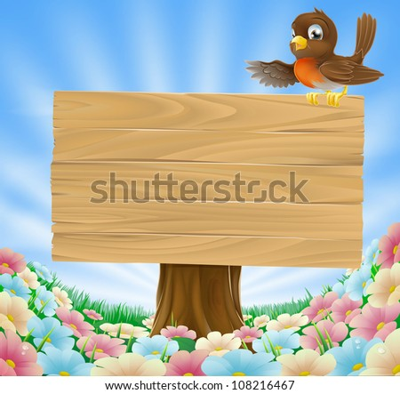 Illustration of a robin bird on a wood sign in a country field filled with pretty flowers
