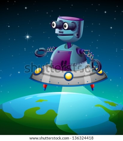 Illustration of a robot above the earth