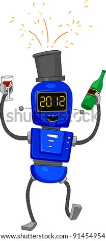 Illustration of a Robot Celebrating the New Year