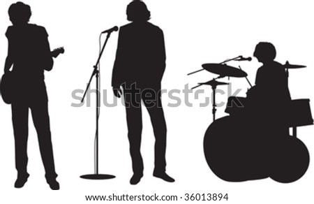 illustration of a rock or pop band with guitar, drums and singer