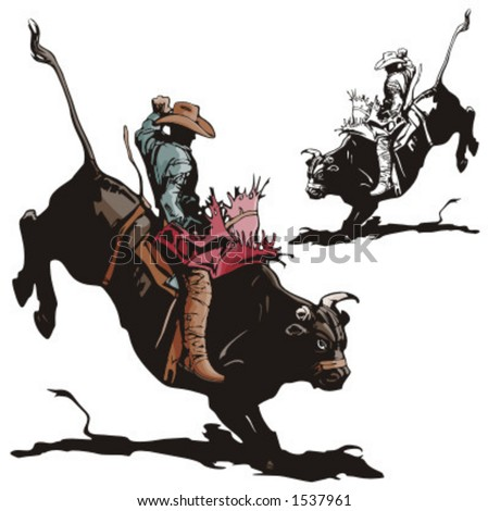 Illustration Of A Rodeo Cowboy Riding A Bull. - 1537961 : Shutterstock