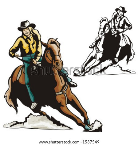 Illustration of a rodeo cowgirl riding a saddled horse.